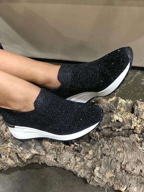 Sock-sneakers plateforme noirs avec gemmes Ken's