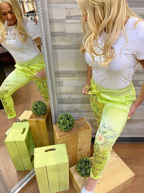 Pantalon vert fluo imprimé printanier