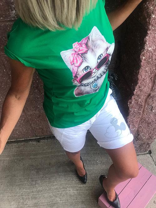 T-shirt vert imprimé chaton CC Fashion