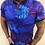 Thumbnail: Polo bleu royal, motifs feuilles roses et bleues Au Noir