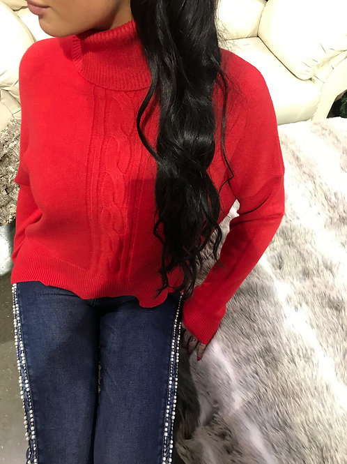 Chandail en laine rouge à col roulé Eternelle