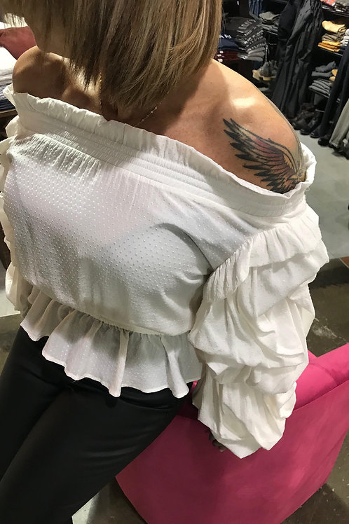 Blouse blanche off-the-shoulders Guess