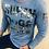 Thumbnail: Chandail manches longues bleu imprimé noir et argent Rufen