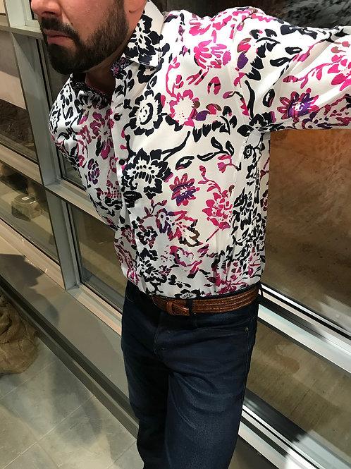 Chemise blanche à fleurs roses et noires Au Noir