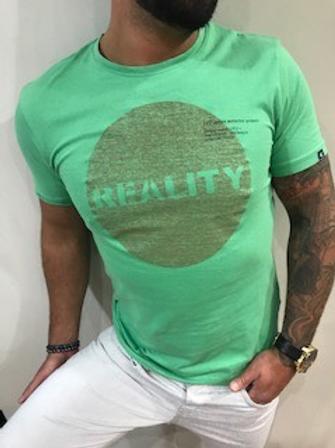 T-shirt vert imprimé rouge Garcia