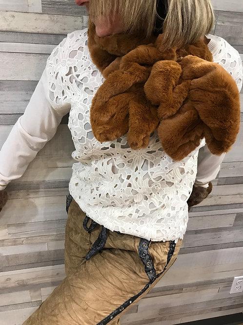 Foulard brun en fausse fourrure Nana
