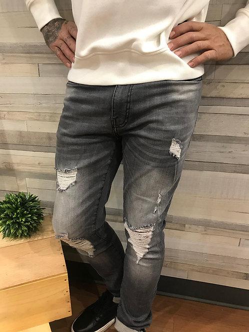Jeans gris à trou Matrix