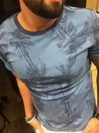 T-shirt bleu navy motifs arbres marines G-Star