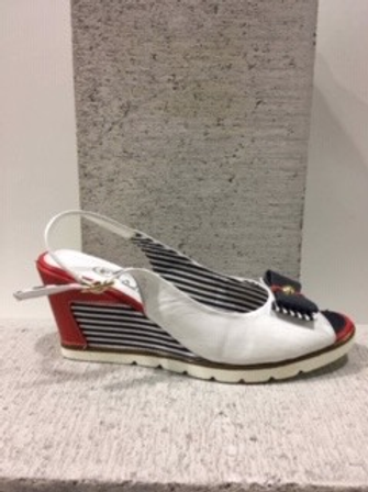 Sandale blanche talon rouge rayé marine et blanc La Pinta