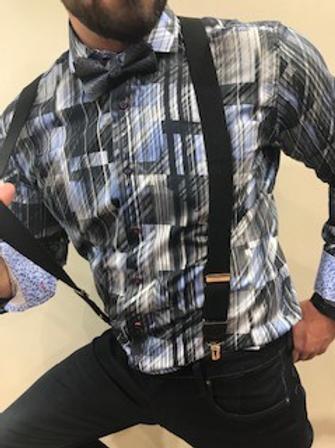Chemise manches longues motifs bleus et noirs 7 DOWNIE ST