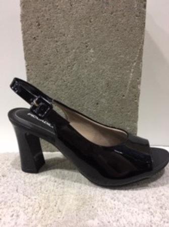 Sandale noire en cuir vernis PICCADILLY