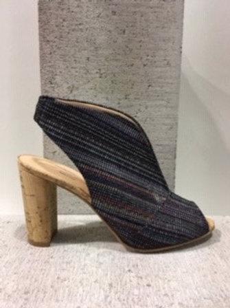 Sandale noire lignée multicolore Brenda Zaro
