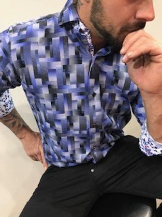 Chemise manches longues à motifs blancs et bleux SLOANE
