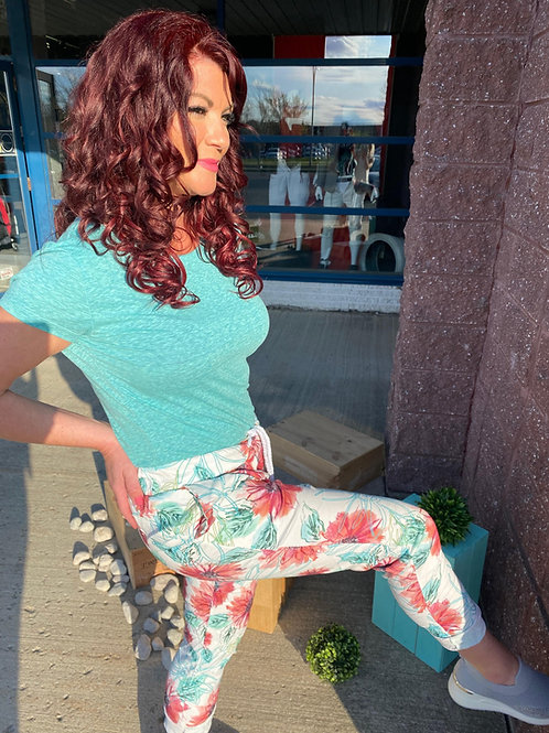 Pantalon blanc imprimé à fleurs rouges et turquoises Collection italienne