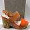 Thumbnail: Sandale orange talon compensé multicolore  SACHA LONDON