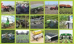 Many robots in action on agriculture fie