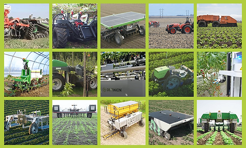 Many robots in action on agriculture field