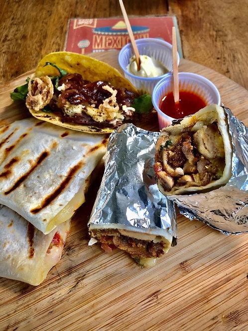 Trio Tradicional: Taco + Burrito + Quesadilla