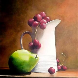 Withe Mug with Fruits