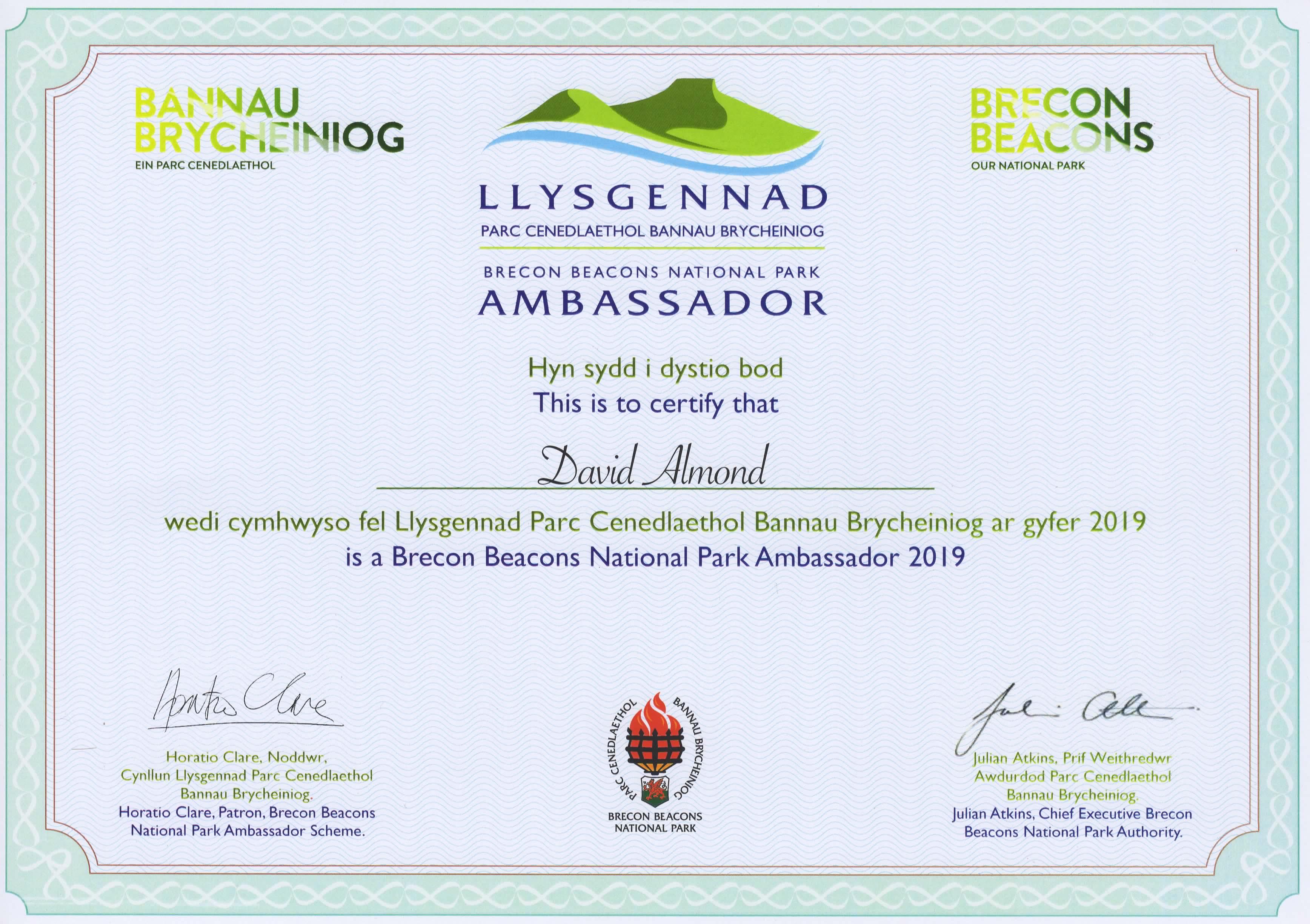 Ambassador Certificate - David