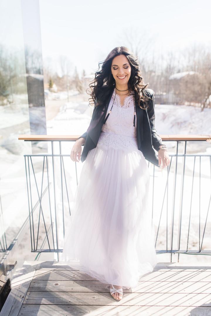 Wedding dress & leatherete coat
