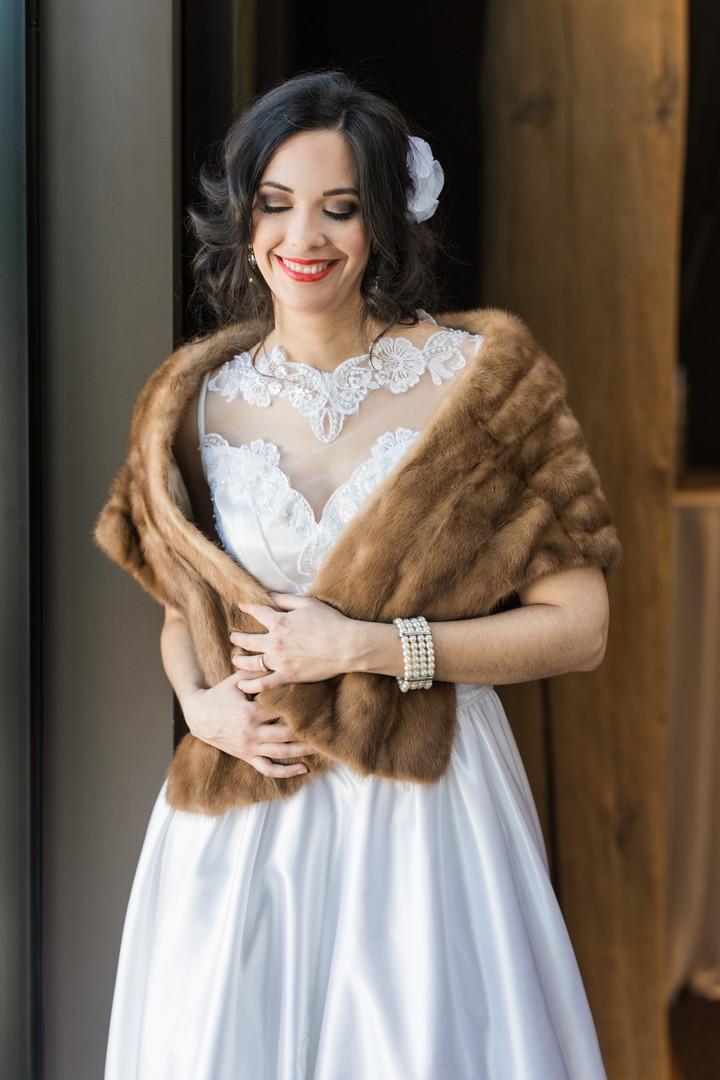 Vintage wedding dress and vintage fur stole