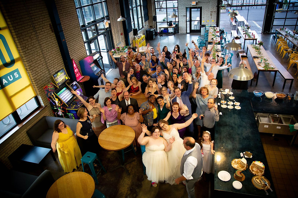 Bauhaus Brew Lab wedding group picture