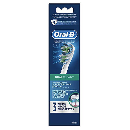 Oral-B Dual Clean Replacement Electric Toothbrush Replacement Brush Heads, 3 Ct.