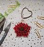 Wooden red flower key ring