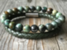 Men green gemstone and leather bracelet set