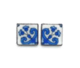 Portugal blue white tile earrings