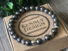 Men gemstone beaded black stretch bracelet