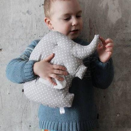 Stuffed Elephant Pillow Polka Dot