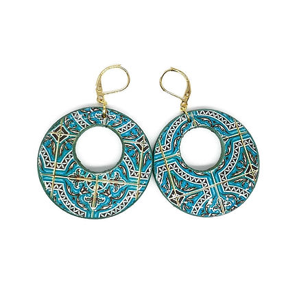 Portuguese green turquoise hoop earrings