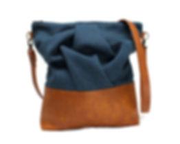 Blue and Caramel Messenger Bag, Vegan Leather