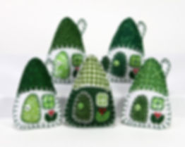 Little house felt ornaments in green and white