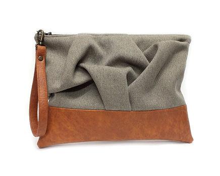 Brown and Caramel Clutch, Vegan Bag