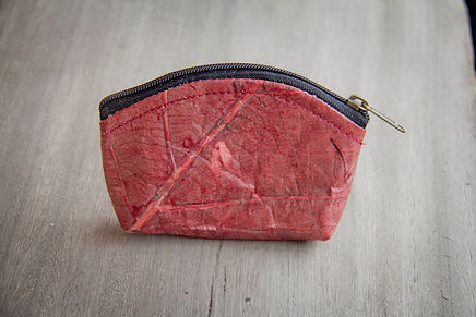 Coin bag from leaves, handmade mini wallet, purse in red