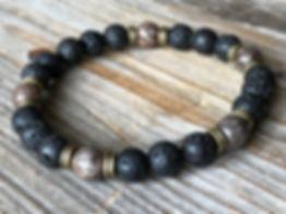 Men gemstone beaded lava stone surf bracelet