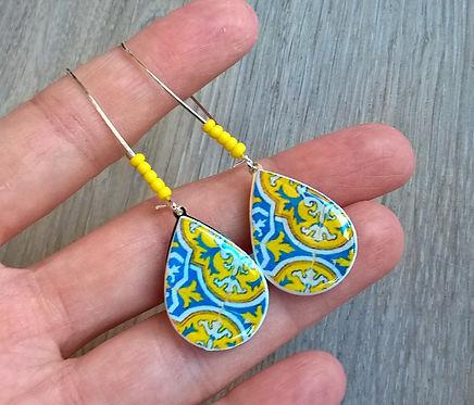 Yellow Portuguese teardrop tiles earrings