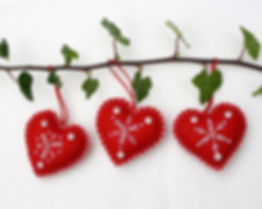 Snowflake heart Christmas ornaments, red with white