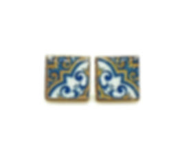 Portuguese square stud earrings