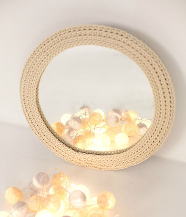 Knitted round wall MIRROR, 16 colors
