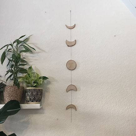 Wooden Moon Phase Birch Log Slice Wall Hanging