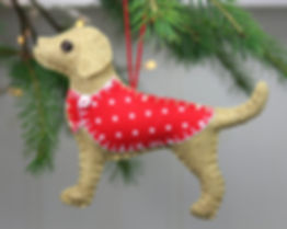 Golden labrador felt ornament
