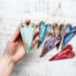 Wooden Heart Ornaments   6 Colors