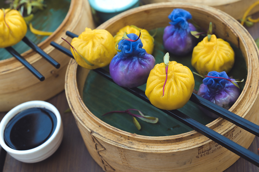 It's Time to Eat Colorful With Verandahs Oh-so-Pretty Blue and Yellow Dimsums