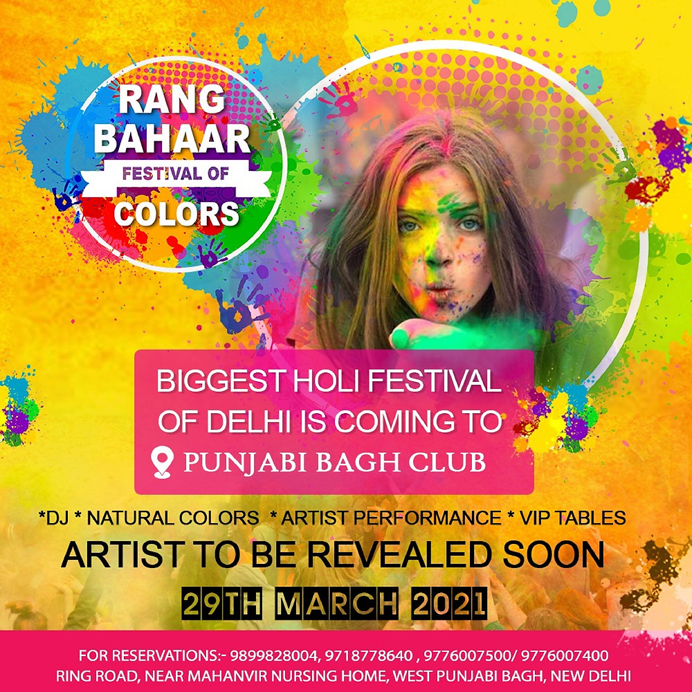 Delhiites It's Time To Go Colorful With Delhi's Biggest Holi Festival @ Punjabi Bagh Club!