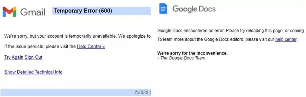 Gmail, Google Meet, YouTube, and Google Docs crash for users across the world