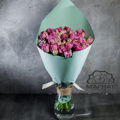 Букет из 25 пионовидных тюльпанов